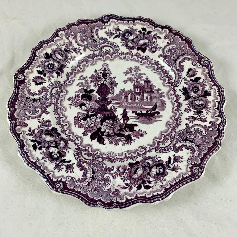 Glazed William Adams IV & Sons Purple Fountain Scenery Staffordshire Transferware Plate For Sale