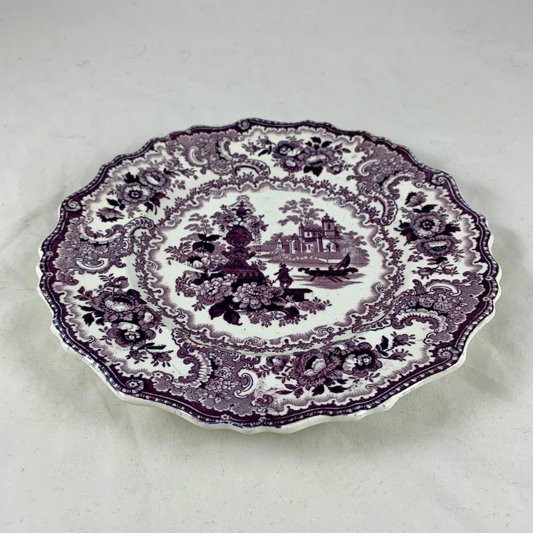 William Adams IV & Sons Purple Fountain Scenery Staffordshire Transferware Plate In Good Condition For Sale In Philadelphia, PA