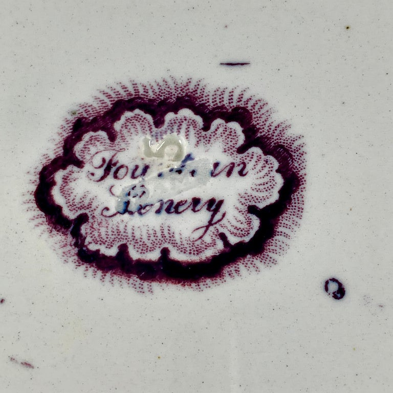 19th Century William Adams IV & Sons Purple Fountain Scenery Staffordshire Transferware Plate For Sale