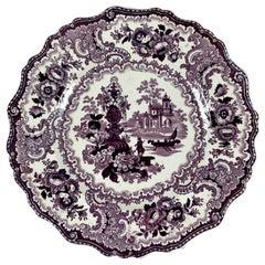 William Adams IV & Sons Purple Fountain Scenery Staffordshire Transferware Plate