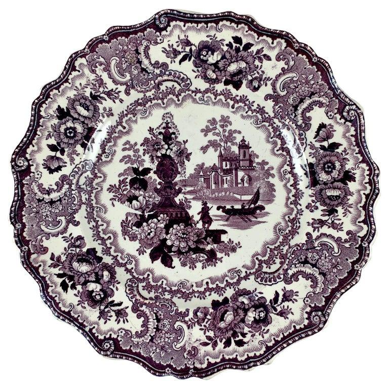 William Adams IV & Sons Purple Fountain Scenery Staffordshire Transferware Plate For Sale