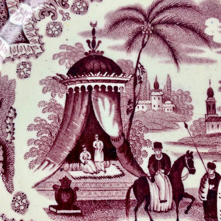 Chinoiserie William Adams IV & Sons Purple Palestine Staffordshire Transferware Plate For Sale