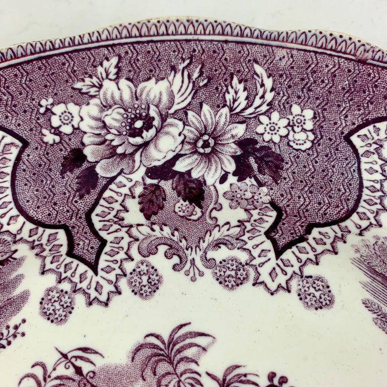 Glazed William Adams IV & Sons Purple Palestine Staffordshire Transferware Plate For Sale