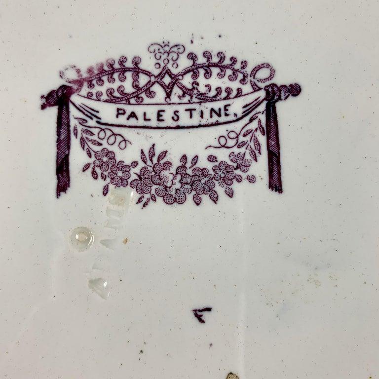 19th Century William Adams IV & Sons Purple Palestine Staffordshire Transferware Plate For Sale