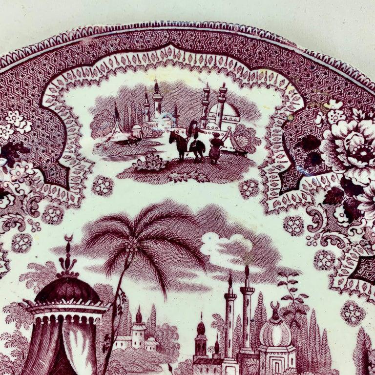 Earthenware William Adams IV & Sons Purple Palestine Staffordshire Transferware Plate For Sale