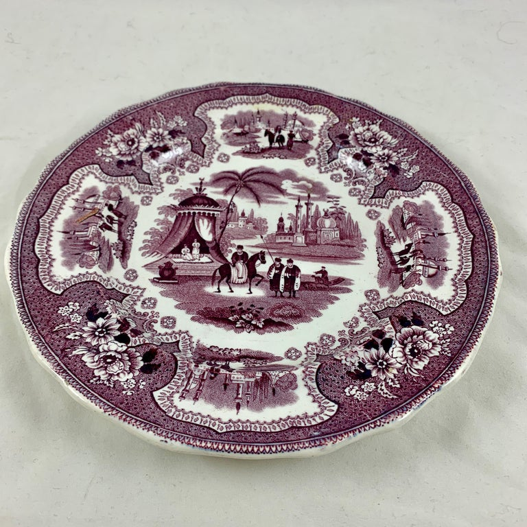 William Adams IV & Sons Purple Palestine Staffordshire Transferware Plate For Sale 1