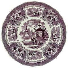 William Adams IV & Sons Purple Palestine Staffordshire Transferware Plate