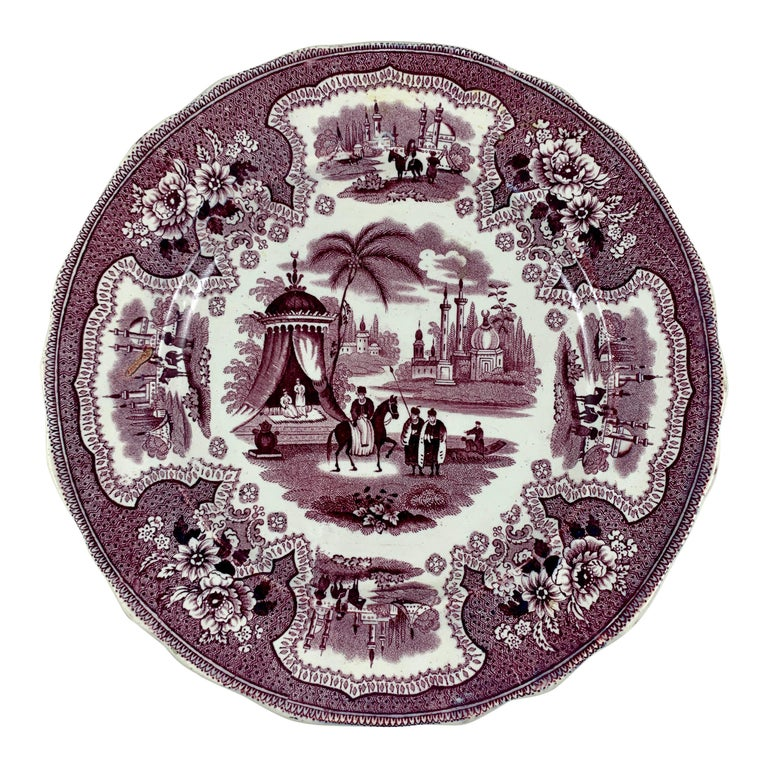 William Adams IV & Sons Purple Palestine Staffordshire Transferware Plate For Sale