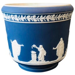 William Adams, Wedgwood, Blue Jasperware Jardiniere, England 1890