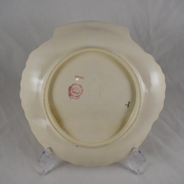 William Adderley English Staffordshire Shell and Floral Asparagus Plate For Sale 3