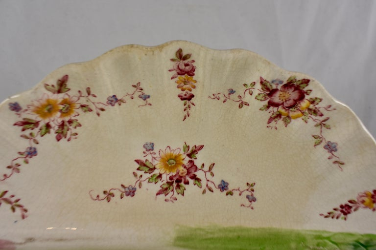 Aesthetic Movement William Adderley English Staffordshire Shell and Floral Asparagus Plate For Sale