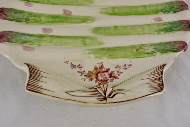 Glazed William Adderley English Staffordshire Shell and Floral Asparagus Plate For Sale