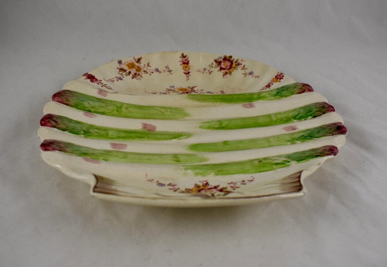 William Adderley English Staffordshire Shell and Floral Asparagus Plate For Sale 1
