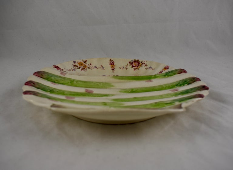 William Adderley English Staffordshire Shell and Floral Asparagus Plate For Sale 2