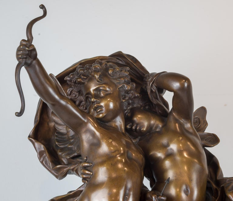 Magnificent Patinated Bronze Sculpture of Cupid and Psyche by Bouguereau For Sale 2