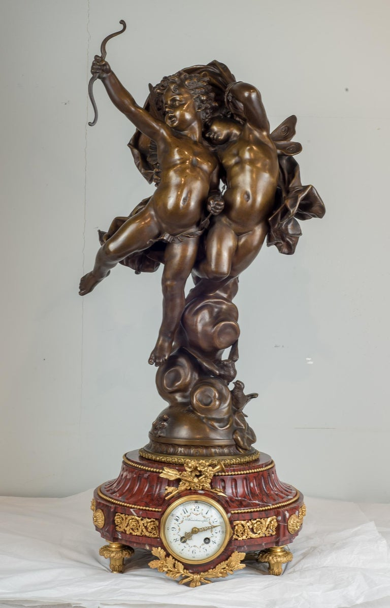 Magnificent Patinated Bronze Sculpture of Cupid and Psyche by Bouguereau For Sale 5