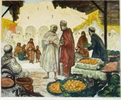 Hand colored Etching - Souk a' Gabes Tunisia