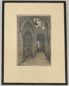 "William Alphonse Lambrecht ""Place Saint-Leger, Chambery, France"" Etching c.1930"
