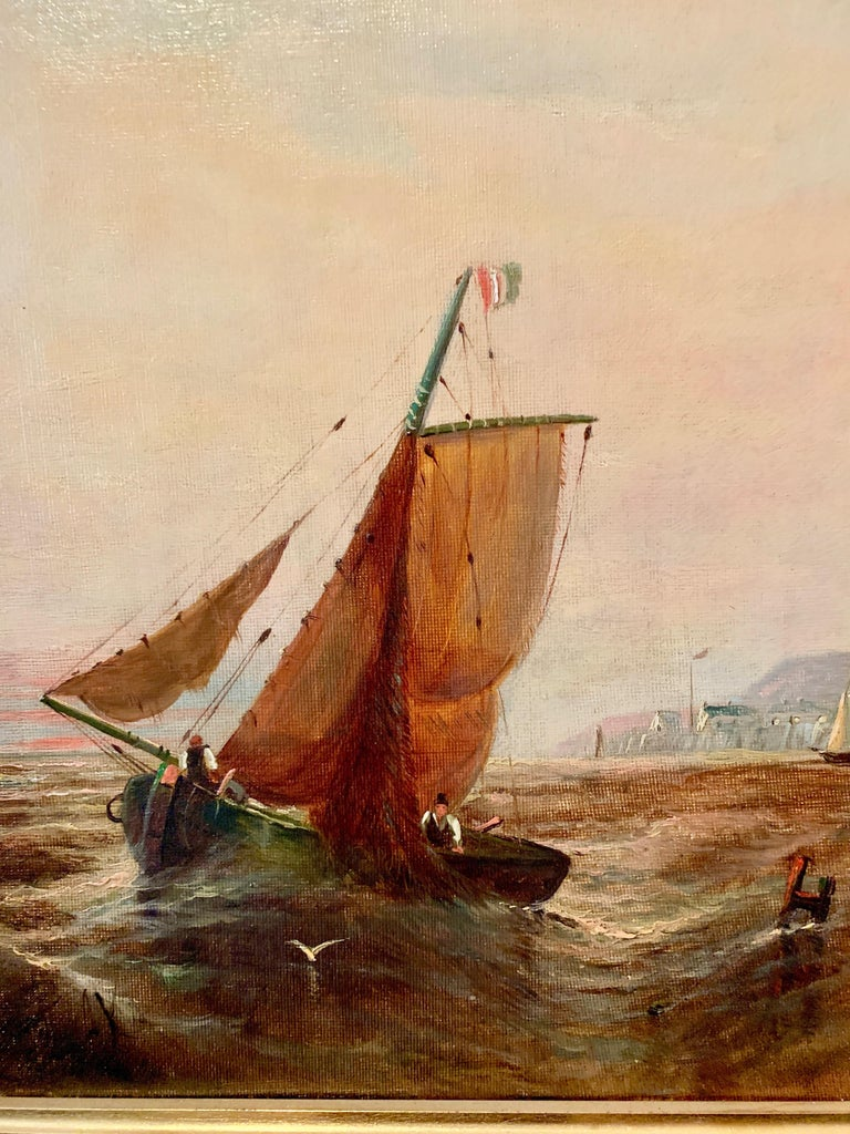 English Victorian 19th century fishing boat in the English Channel - Painting by William Adolphus Knell