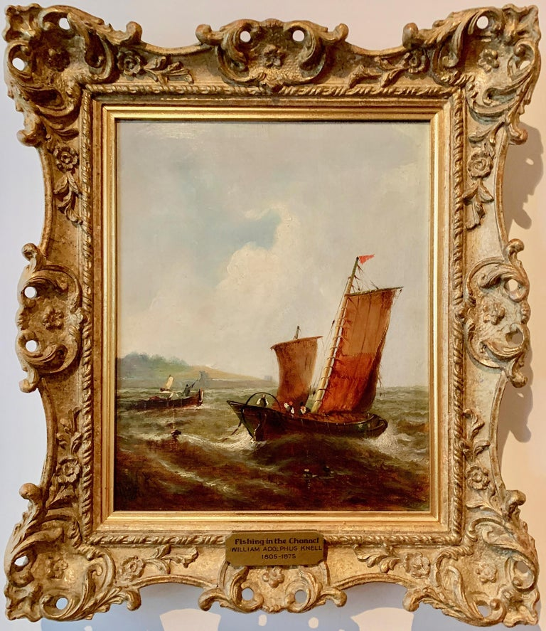 William Adolphus Knell Landscape Painting - English Victorian 19th century fishing boat in the English Channel