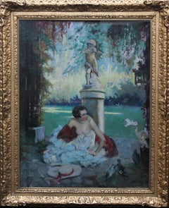 Fin d'Ete End of Summer - French 1920's Art Deco portrait oil painting in garden