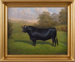 Animal portrait oil painting of a prize bull