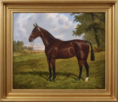 Sporting horse portrait oil painting of a champion hunter