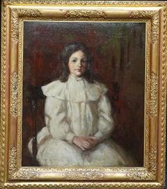 Edwardian Portrait of a Young Girl - Scottish 1909 art portrait oil painting