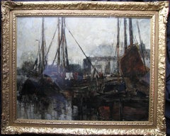 Quayside - Edwardian Scottish Glasgow Impressionist marine harbour oil painting