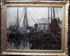Quayside - Edwardian Scottish Glasgow Impressionist oil painting harbour marine
