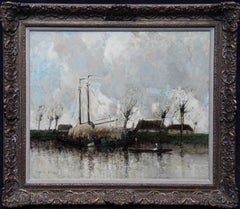 The Hay Barge - Scottish Edwardian art Dutch boating landscape oil painting