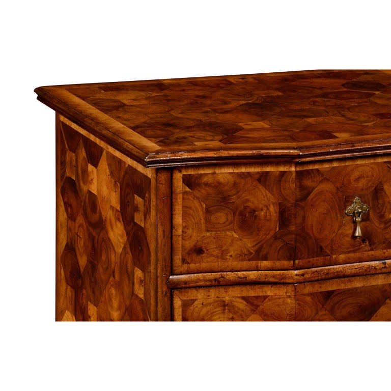 Contemporary William and Mary Oyster Veneer Chest of Drawers For Sale