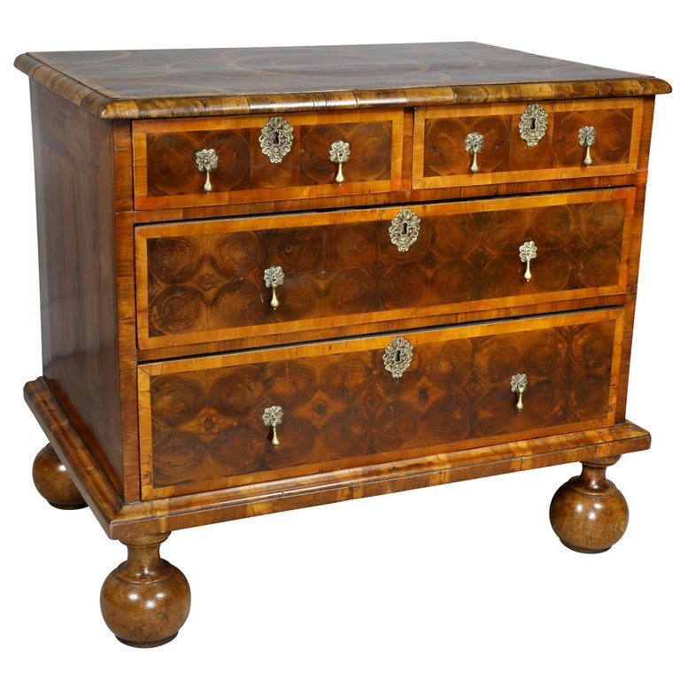 William and Mary Oyster Veneer Chest of Drawers For Sale