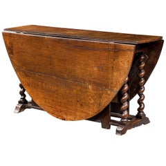William and Mary Period Gate Leg Table