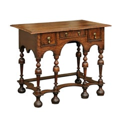 William and Mary Style 1800s Oak Side Table with Trumpet Legs and Three Drawers