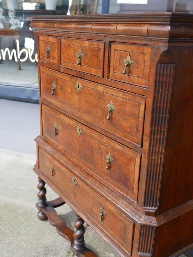 William and Mary Walnut Burl Chest on Stand For Sale 2