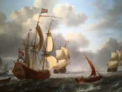 18th century Dutch warships at sea off with fishing boats in full sail