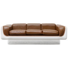 William Andrus for Steelcase Fiberglass, Lucite and Leather Sofa, 1960s