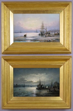 19th Century pair of seascape oil paintings of fishing boats off a shore.