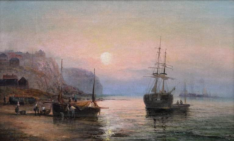 19th Century pair of seascape oil paintings  - Painting by William Anslow Thornley