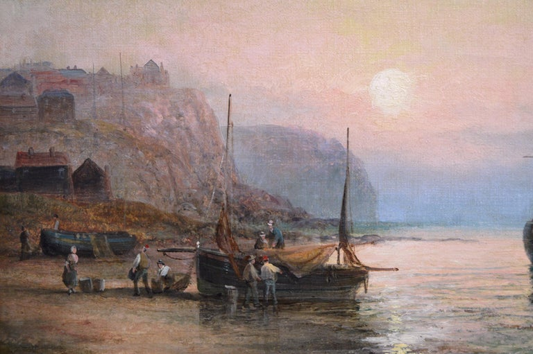 19th Century pair of seascape oil paintings  - Victorian Painting by William Anslow Thornley