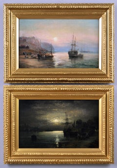 19th Century pair of seascape oil paintings