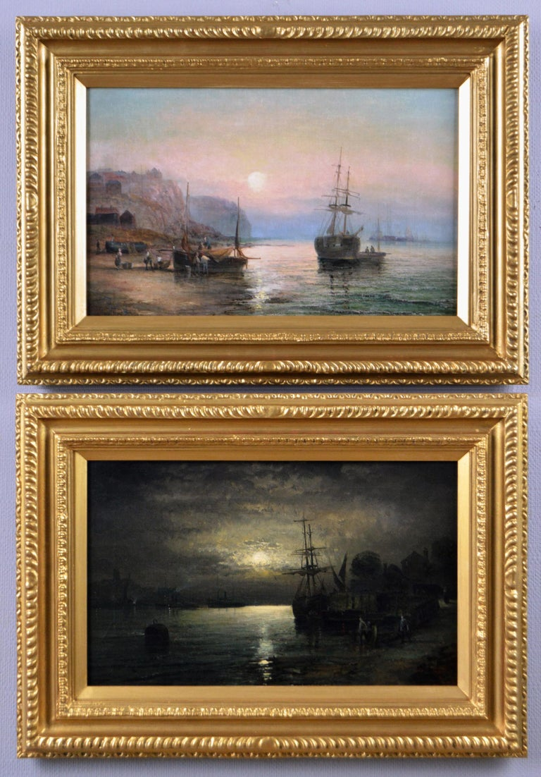 William Anslow Thornley Landscape Painting - 19th Century pair of seascape oil paintings