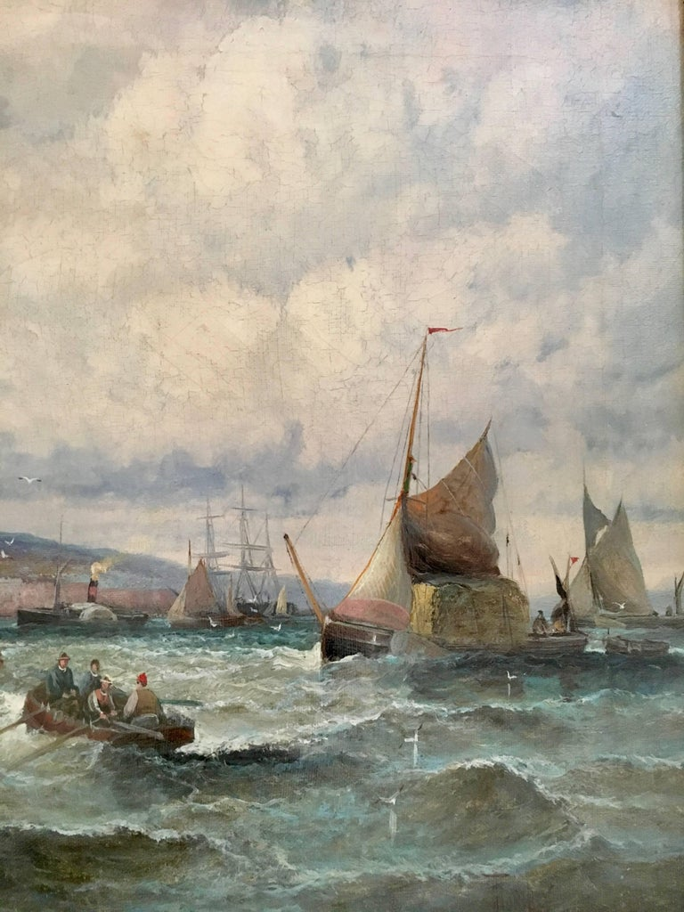 English 19thC Victorian Shipping scene with fishing boats in the English Channel - Painting by William Anslow Thornley