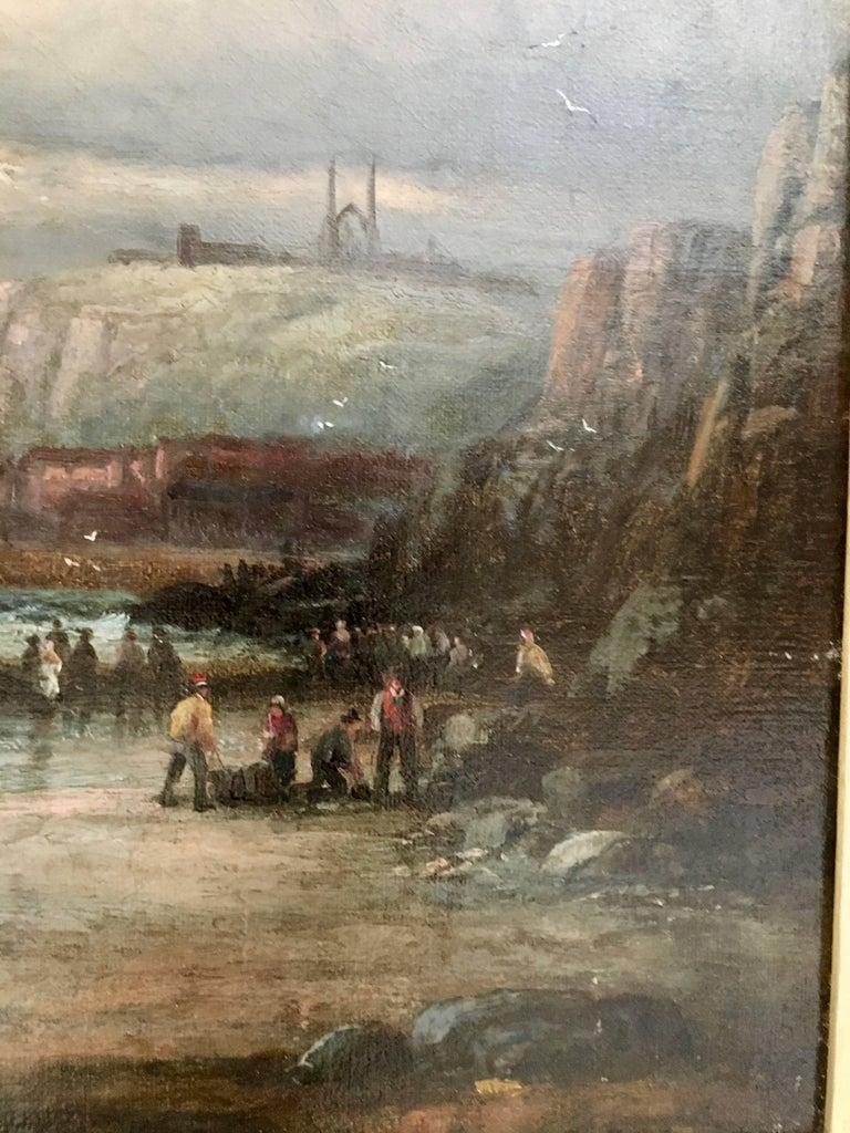 English 19thC Victorian Shipping scene with fishing boats in the English Channel - Brown Figurative Painting by William Anslow Thornley