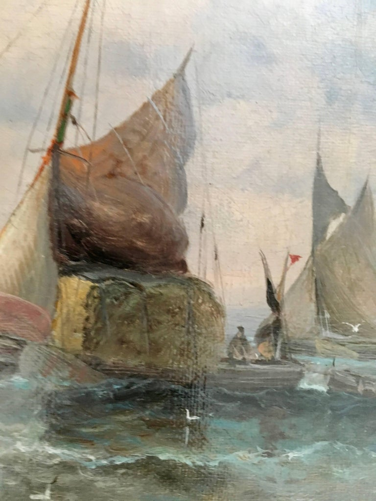 English 19thC Victorian Shipping scene with fishing boats in the English Channel For Sale 1