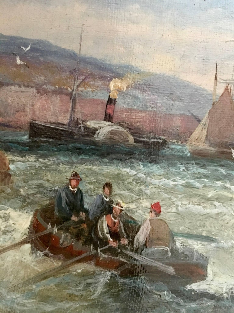English 19thC Victorian Shipping scene with fishing boats in the English Channel For Sale 2