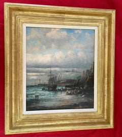 English 19thC Victorian Shipping scene with fishing boats in the English Channel