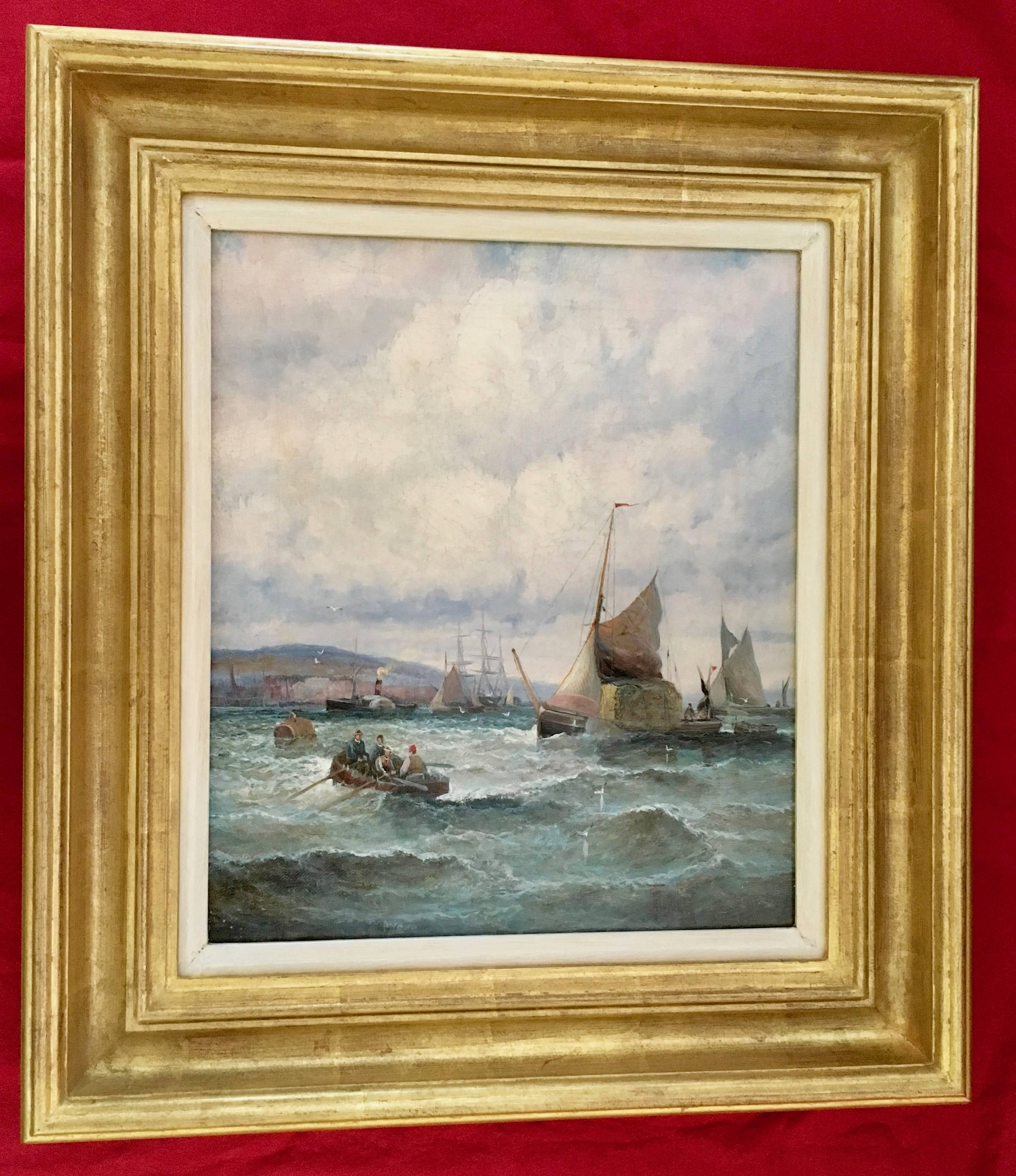 English 19th C Victorian boating scene with fishing boats in the English Channel