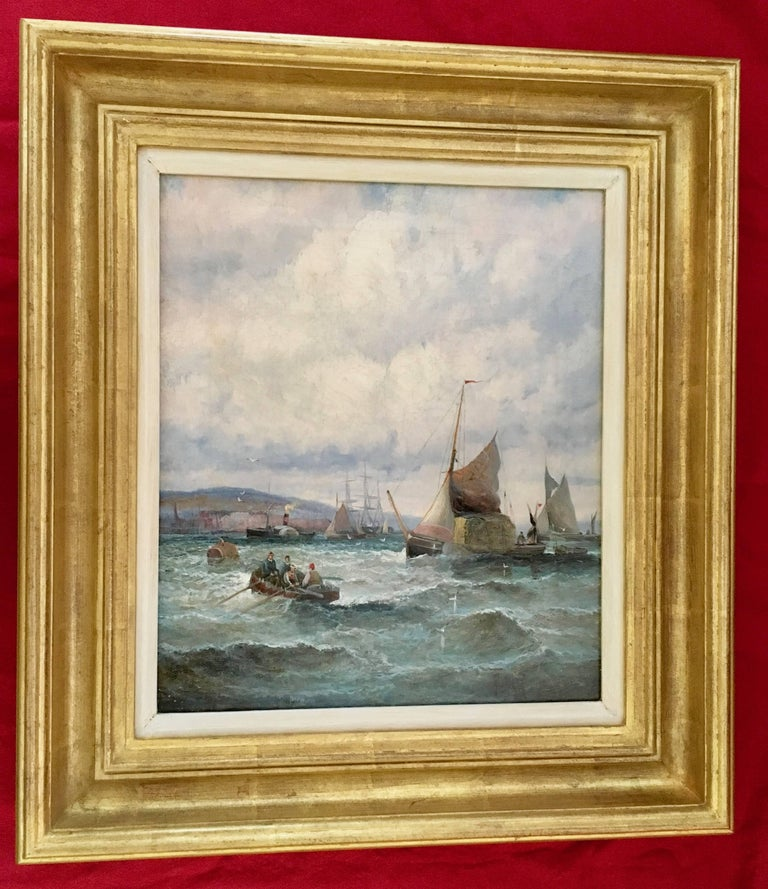 William Anslow Thornley Figurative Painting - English 19thC Victorian Shipping scene with fishing boats in the English Channel
